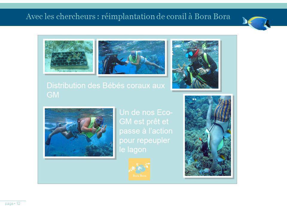 page 12 Avec les chercheurs : réimplantation de corail à Bora Bora