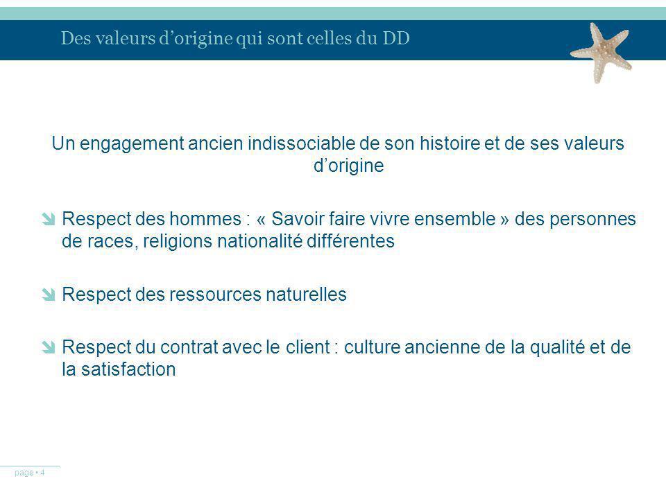 page 4 Des valeurs dorigine qui sont celles du DD Un engagement ancien indissociable de son histoire et de ses valeurs dorigine Respect des hommes : «