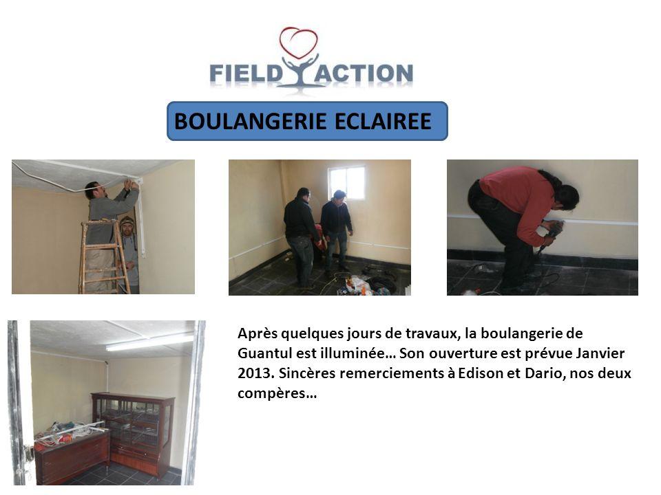 BOULANGERIE ECLAIREE Après quelques jours de travaux, la boulangerie de Guantul est illuminée… Son ouverture est prévue Janvier 2013.