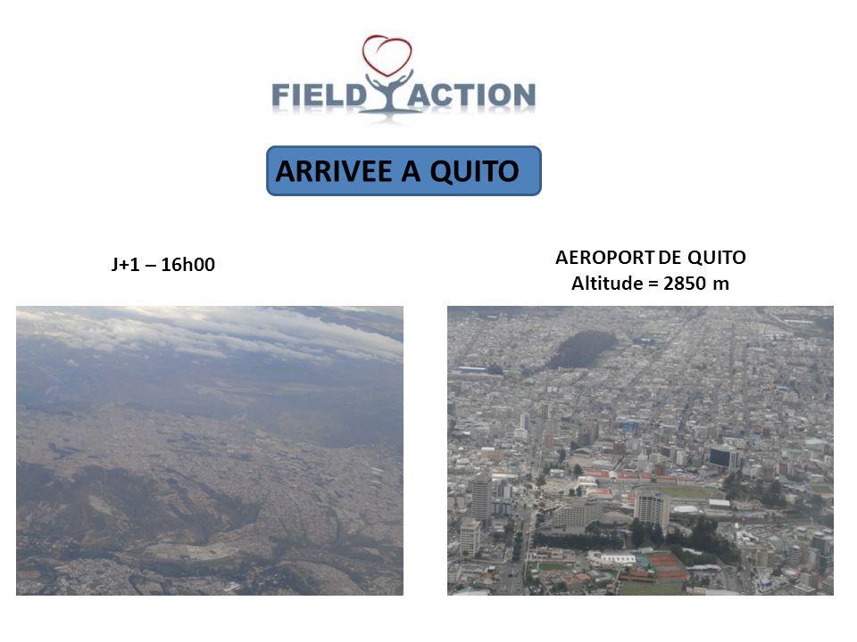 ARRIVEE A QUITO J+1 – 16h00 AEROPORT DE QUITO Altitude = 2850 m