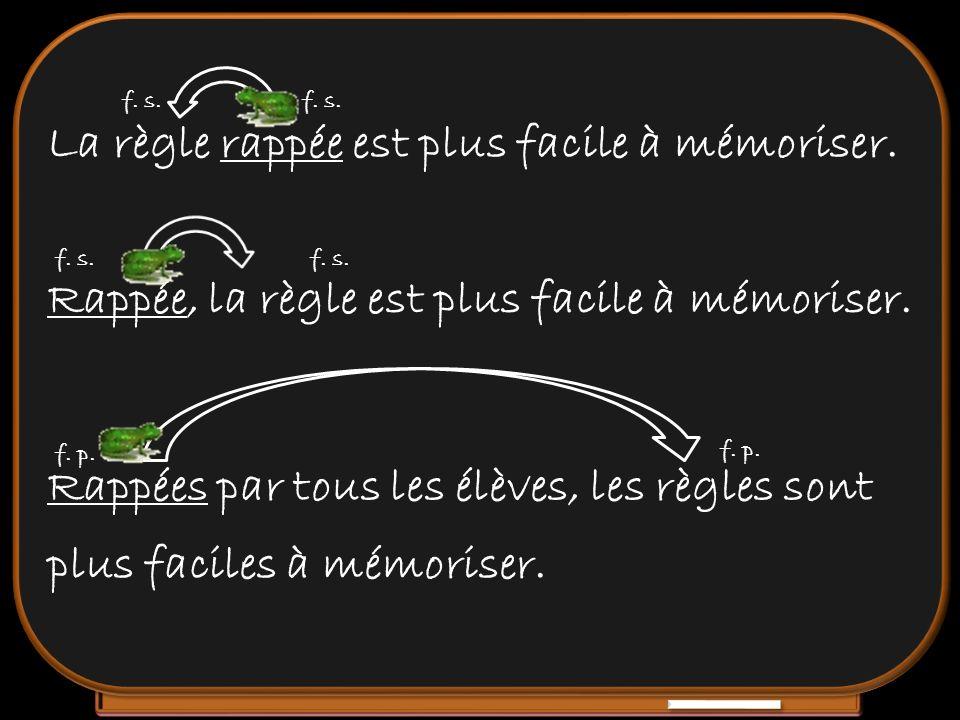 La règle rappée est plus facile à mémoriser. f. s. f. s. Rappée, la règle est plus facile à mémoriser. f. s. f. s. Rappées par tous les élèves, les rè