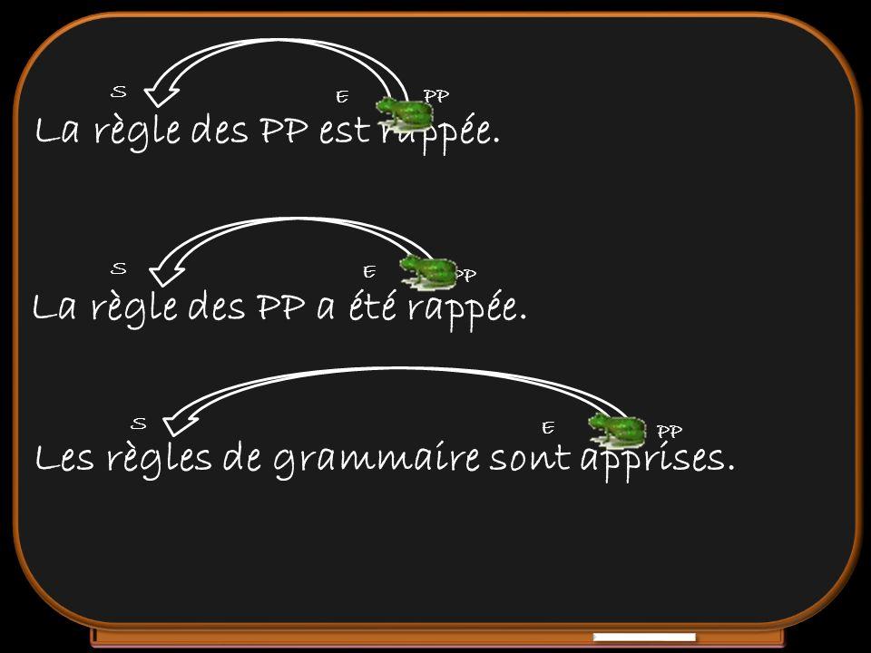 La règle des PP est rappée. La règle des PP a été rappée. Les règles de grammaire sont apprises. S E PP S E S E