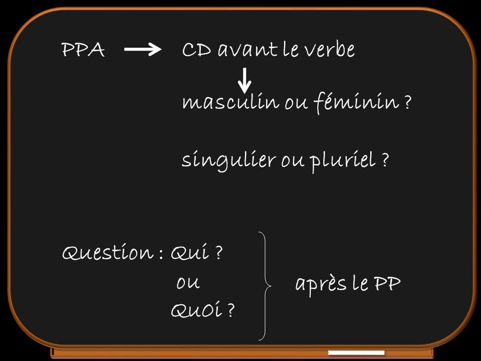 CD avant le verbe Question : Qui ? ou Qu0i ? PPA masculin ou féminin ? singulier ou pluriel ? après le PP