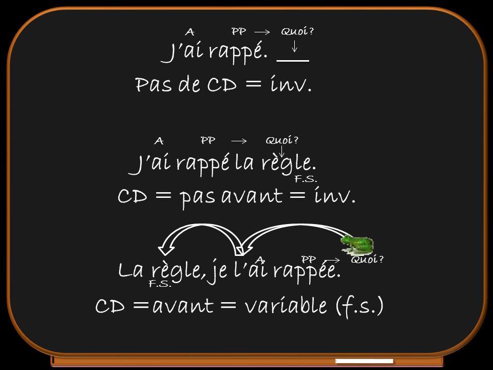 Jai rappé. Pas de CD = inv. Jai rappé la règle. CD = pas avant = inv. La règle, je lai rappée. CD =avant = variable (f.s.) A PPQuoi ? A PPQuoi ? A PPQ