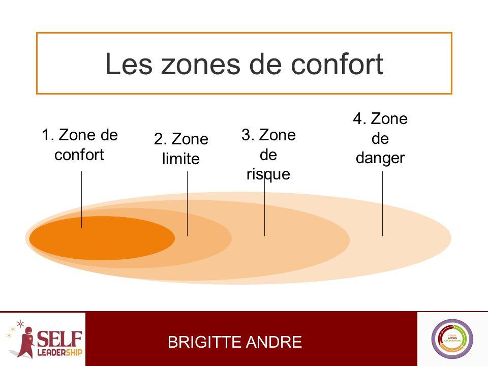 Les zones de confort 1. Zone de confort 4. Zone de danger 3. Zone de risque 2. Zone limite BRIGITTE ANDRE