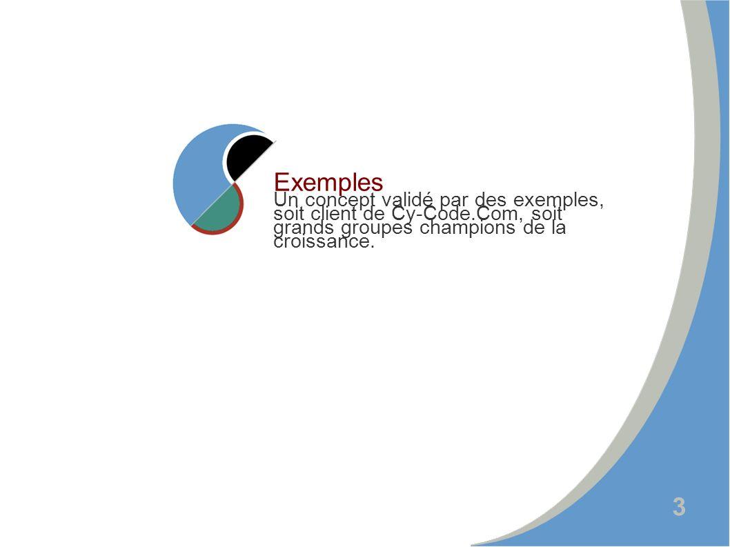 3 Exemples Un concept validé par des exemples, soit client de Cy-Code.Com, soit grands groupes champions de la croissance.