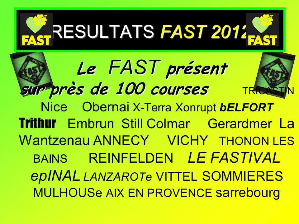 RESULTATS FAST 2012 Le FAST présent sur près de 100 courses Le FAST présent sur près de 100 courses TRICASTIN Nice Obernai X-Terra Xonrupt bELFORT Tri