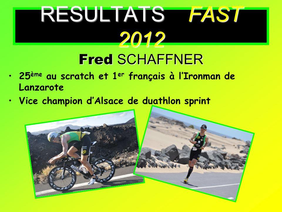 Fred SCHAFFNER 25 ème au scratch et 1 er français à lIronman de Lanzarote Vice champion dAlsace de duathlon sprint RESULTATS FAST 2012