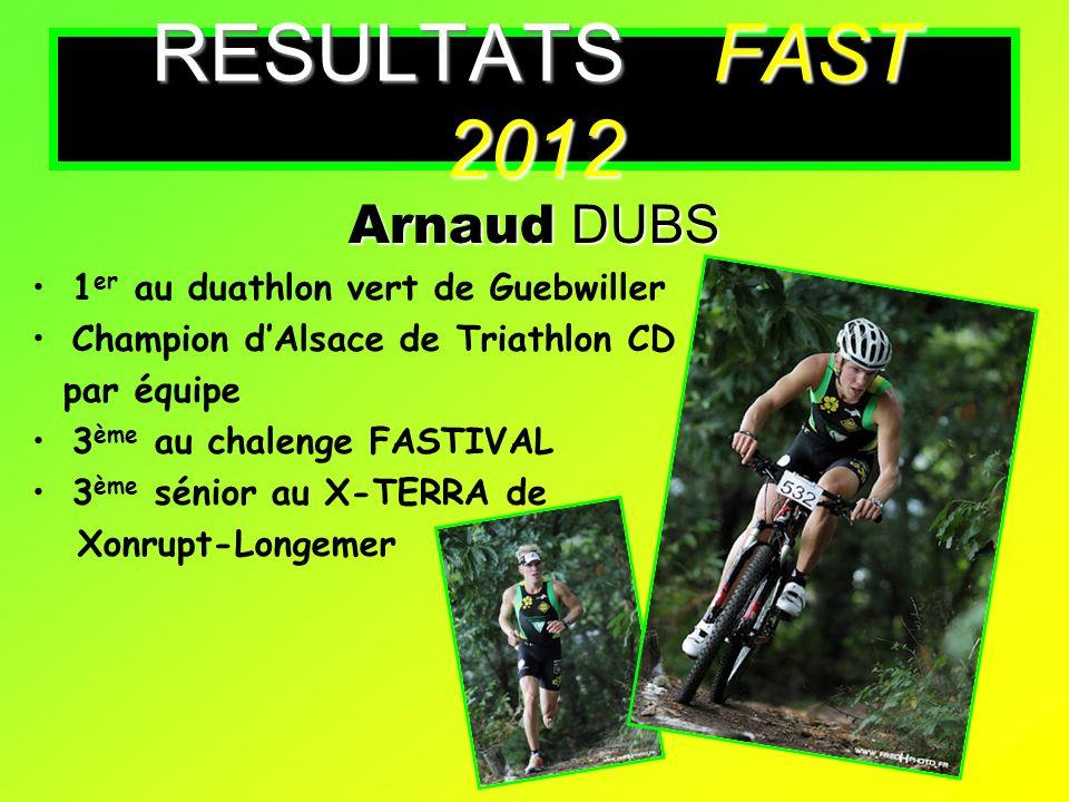 Arnaud DUBS 1 er au duathlon vert de Guebwiller Champion dAlsace de Triathlon CD par équipe 3 ème au chalenge FASTIVAL 3 ème sénior au X-TERRA de Xonr
