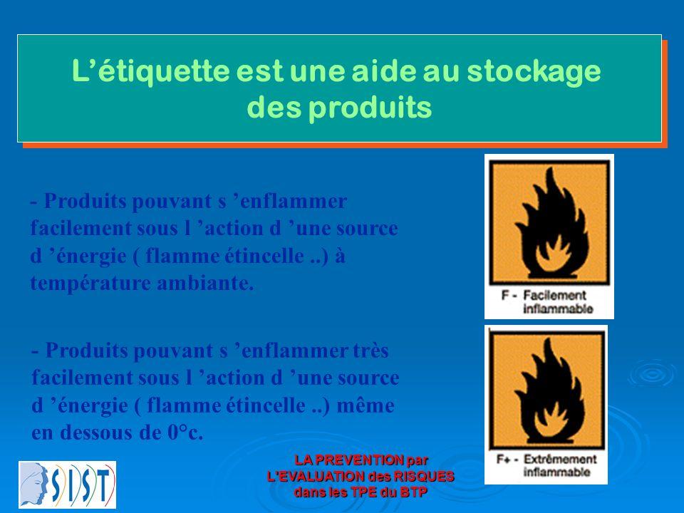 LA PREVENTION par L'EVALUATION des RISQUES dans les TPE du BTP Létiquette est une aide au stockage des produits Létiquette est une aide au stockage de