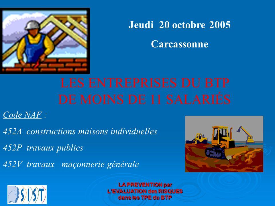 LA PREVENTION par L'EVALUATION des RISQUES dans les TPE du BTP Jeudi 20 octobre 2005 Carcassonne LES ENTREPRISES DU BTP DE MOINS DE 11 SALARIÉS Code N