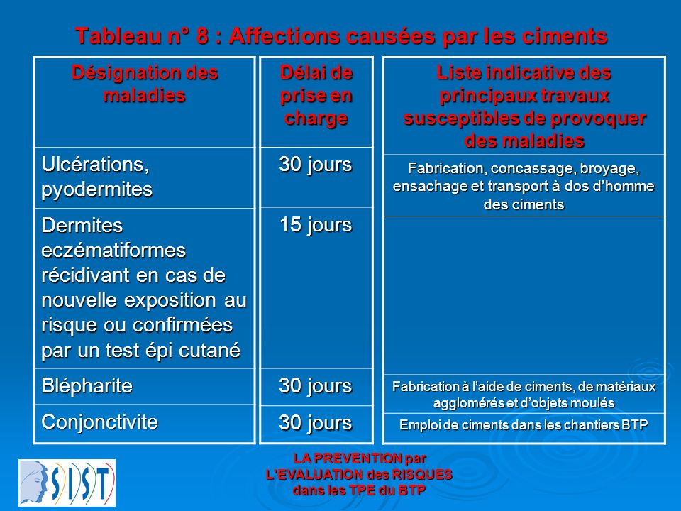 LA PREVENTION par L'EVALUATION des RISQUES dans les TPE du BTP Tableau n° 8 : Affections causées par les ciments Désignation des maladies Ulcérations,