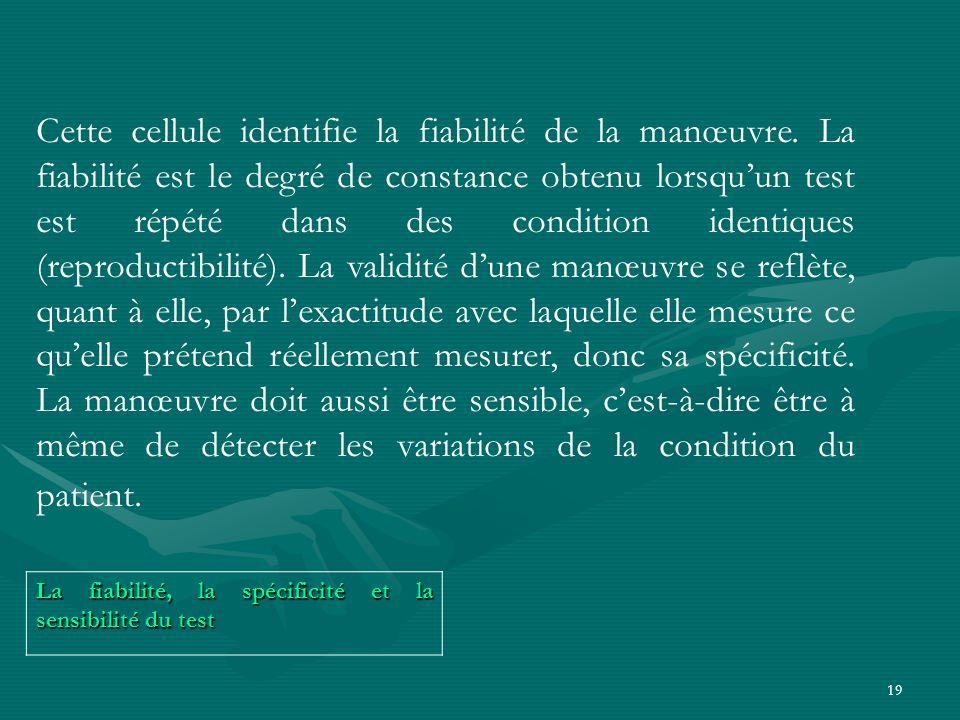 19 La fiabilité, la spécificité et la sensibilité du test Cette cellule identifie la fiabilité de la manœuvre. La fiabilité est le degré de constance