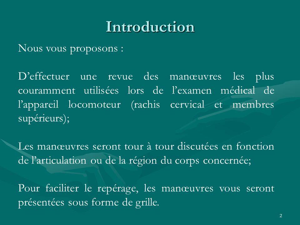 2 Introduction Nous vous proposons : Deffectuer une revue des manœuvres les plus couramment utilisées lors de lexamen médical de lappareil locomoteur