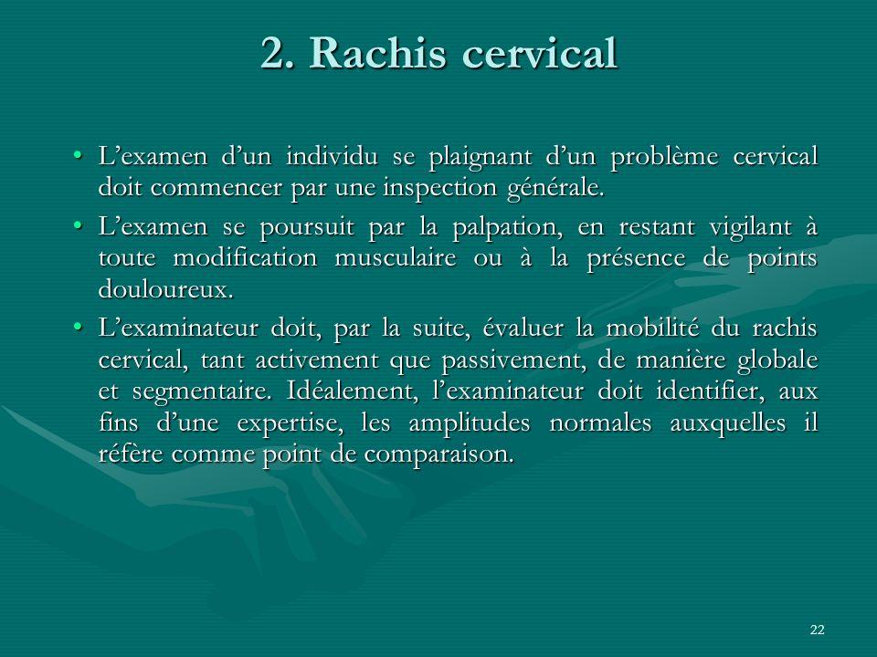 22 2. Rachis cervical Lexamen dun individu se plaignant dun problème cervical doit commencer par une inspection générale.Lexamen dun individu se plaig
