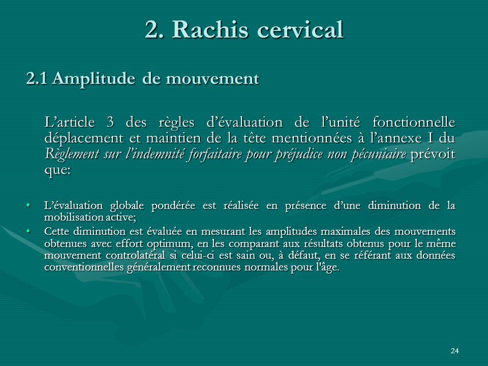 24 2. Rachis cervical 2.1 Amplitude de mouvement Larticle 3 des règles dévaluation de lunité fonctionnelle déplacement et maintien de la tête mentionn