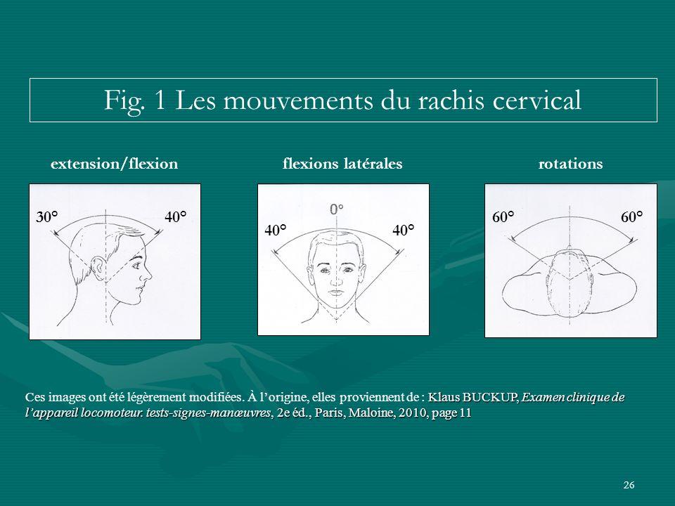 26 extension/flexionflexions latéralesrotations Klaus BUCKUP, Examen clinique de lappareil locomoteur. tests-signes-manœuvres, 2e éd., Paris, Maloine,