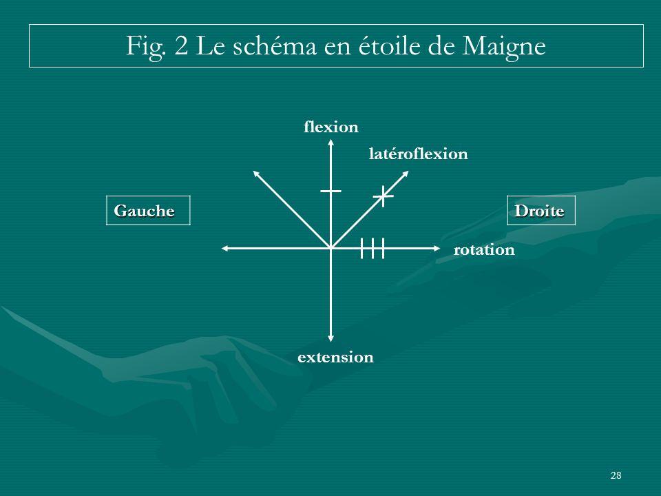 28 DroiteGauche flexion latéroflexion rotation extension Fig. 2 Le schéma en étoile de Maigne