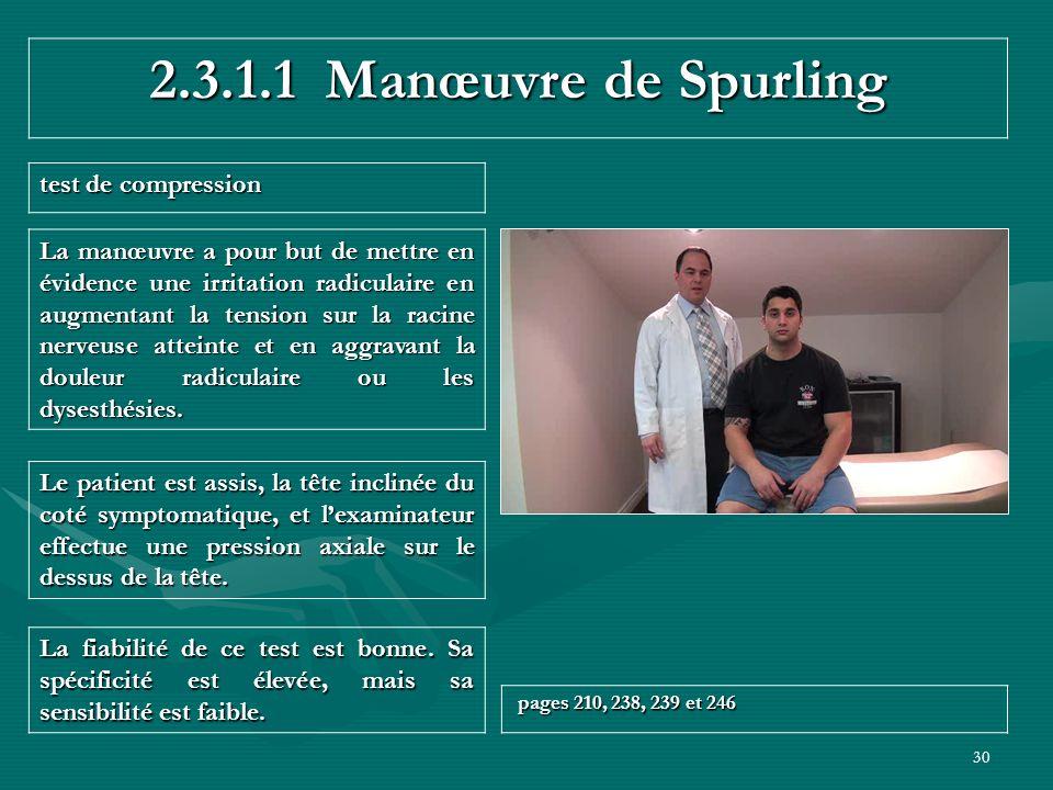 30 2.3.1.1 Manœuvre de Spurling test de compression La fiabilité de ce test est bonne. Sa spécificité est élevée, mais sa sensibilité est faible. page
