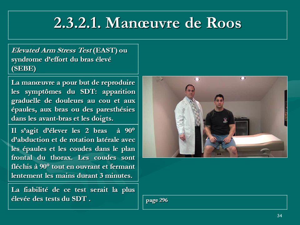 34 2.3.2.1. Manœuvre de Roos Elevated Arm Stress Test (EAST) ou syndrome deffort du bras élevé (SEBE) La fiabilité de ce test serait la plus élevée de