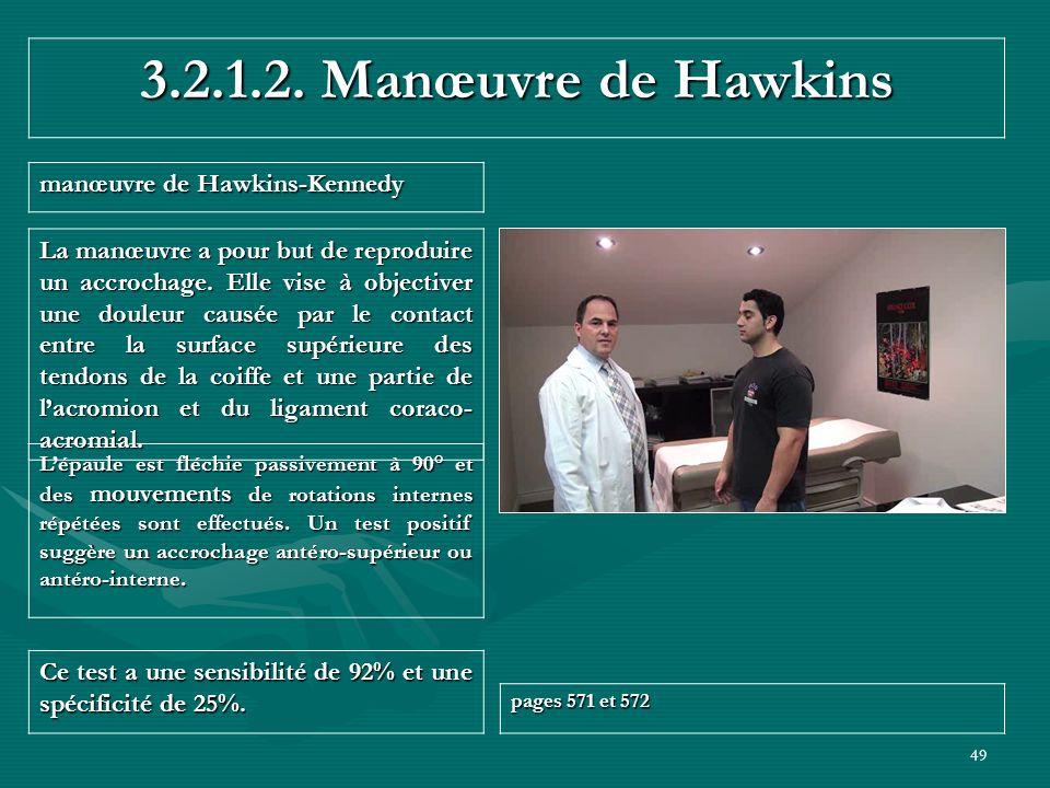 49 3.2.1.2. Manœuvre de Hawkins manœuvre de Hawkins-Kennedy Ce test a une sensibilité de 92% et une spécificité de 25%. pages 571 et 572 Lépaule est f