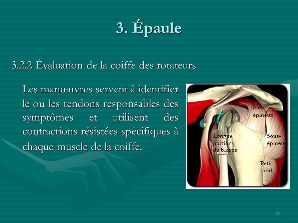 51 3. Épaule Les manœuvres servent à identifier le ou les tendons responsables des symptômes et utilisent des contractions résistées spécifiques à cha