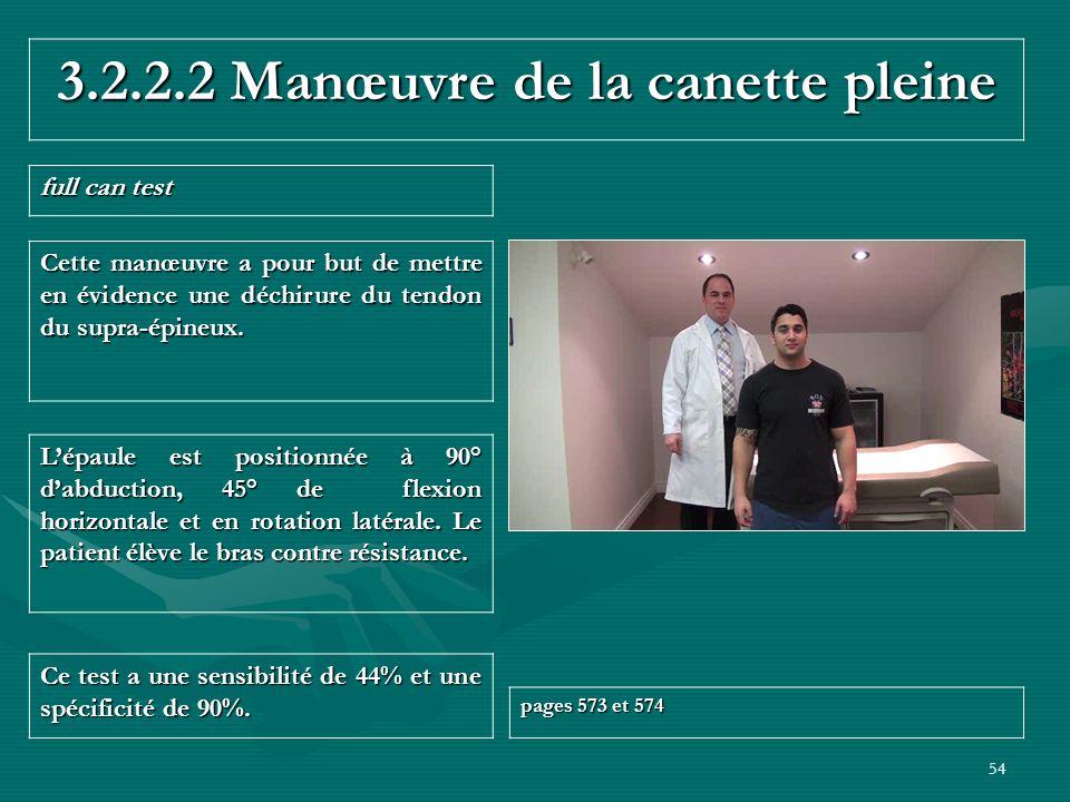 54 3.2.2.2 Manœuvre de la canette pleine full can test Ce test a une sensibilité de 44% et une spécificité de 90%. pages 573 et 574 Lépaule est positi