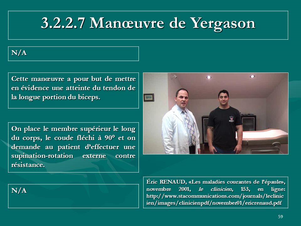 59 3.2.2.7 Manœuvre de Yergason N/A N/A Éric RENAUD, «Les maladies courantes de lépaule», novembre 2001, le clinicien, 153, en ligne: http://www.staco