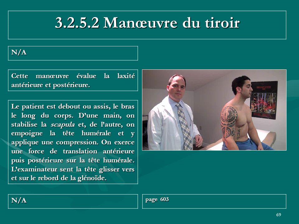 69 3.2.5.2 Manœuvre du tiroir N/A page 603 Le patient est debout ou assis, le bras le long du corps. Dune main, on stabilise la scapula et, de lautre,