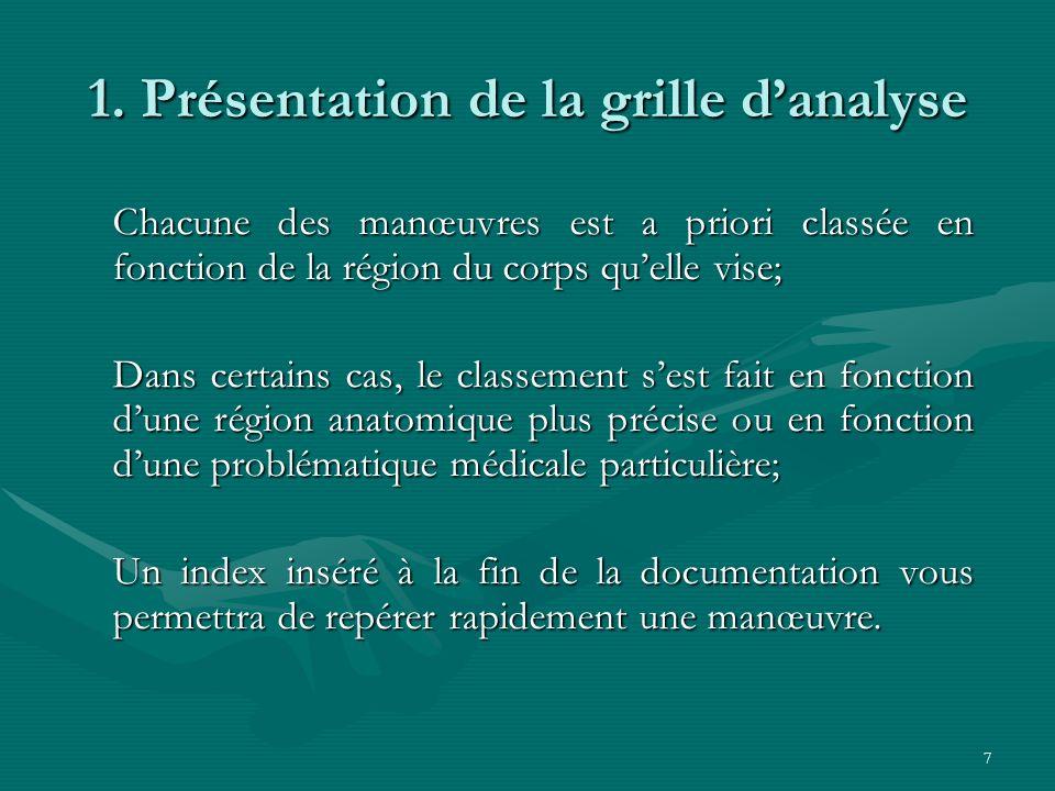 7 1. Présentation de la grille danalyse Chacune des manœuvres est a priori classée en fonction de la région du corps quelle vise; Dans certains cas, l