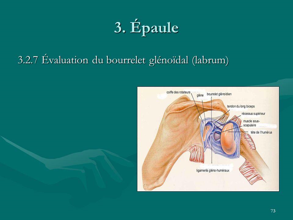 73 3. Épaule 3.2.7 Évaluation du bourrelet glénoïdal (labrum)