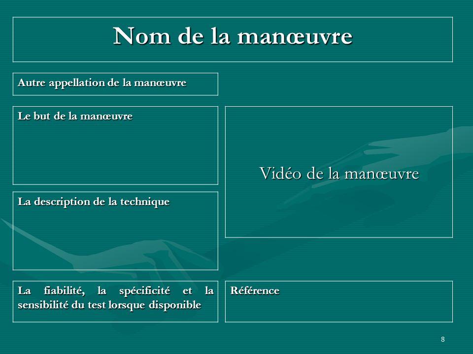 8 Nom de la manœuvre Vidéo de la manœuvre Autre appellation de la manœuvre La fiabilité, la spécificité et la sensibilité du test lorsque disponible R