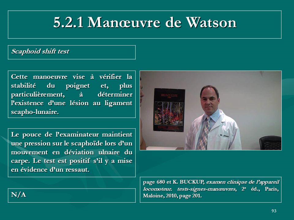 93 5.2.1 Manœuvre de Watson Scaphoid shift test N/A page 680 et K. BUCKUP, examen clinique de lappareil locomoteur. tests-signes-manœuvres, 2 e éd., P
