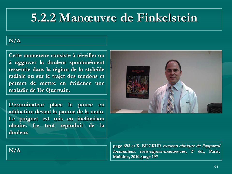 94 5.2.2 Manœuvre de Finkelstein N/A N/A page 693 et K. BUCKUP, examen clinique de lappareil locomoteur. tests-signes-manœuvres, 2 e éd., Paris, Maloi