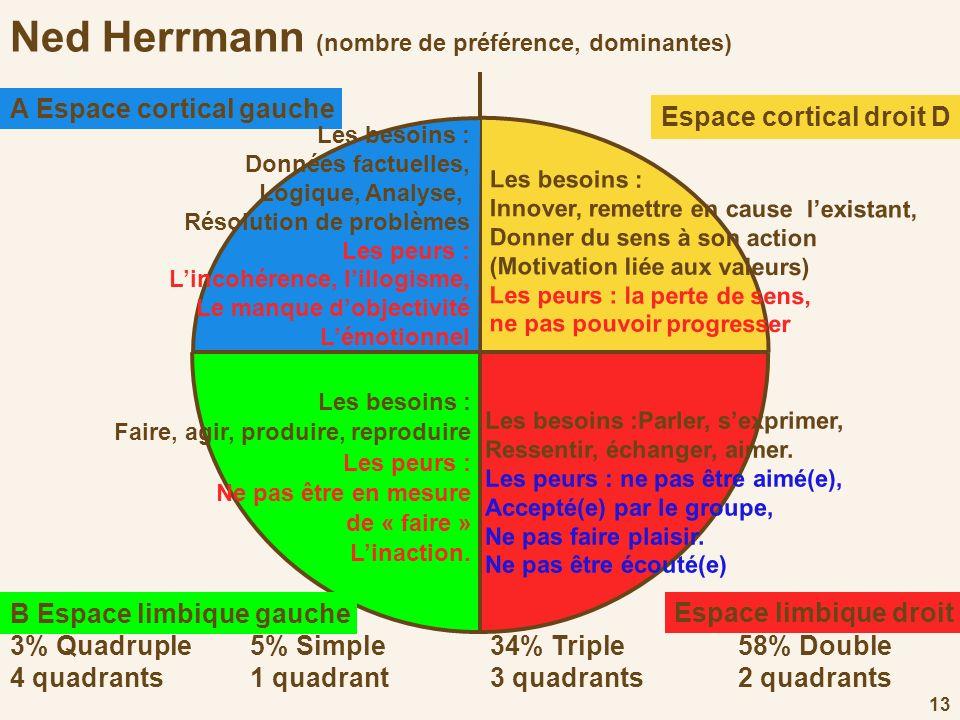 13 Ned Herrmann (nombre de préférence, dominantes) Les besoins : Faire, agir, produire, reproduire Les peurs : Ne pas être en mesure de « faire » Lina