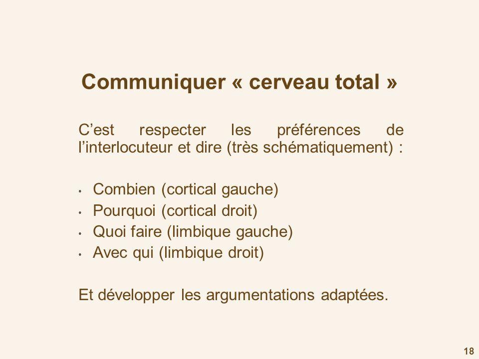 18 Communiquer « cerveau total » Cest respecter les préférences de linterlocuteur et dire (très schématiquement) : Combien (cortical gauche) Pourquoi