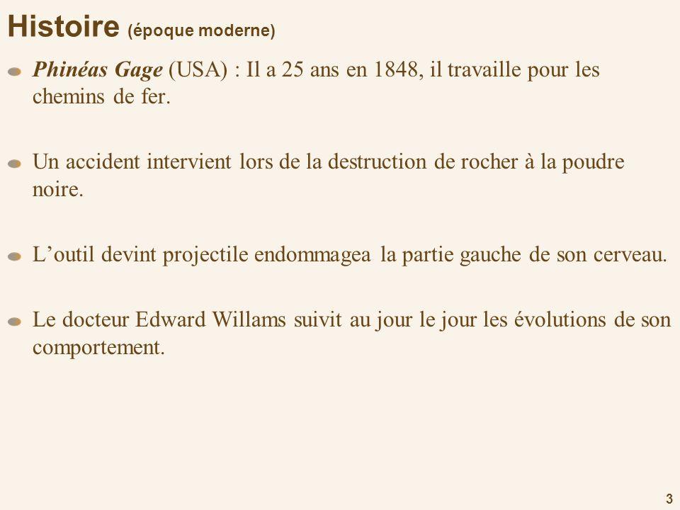 3 Histoire (époque moderne) Phinéas Gage (USA) : Il a 25 ans en 1848, il travaille pour les chemins de fer. Un accident intervient lors de la destruct