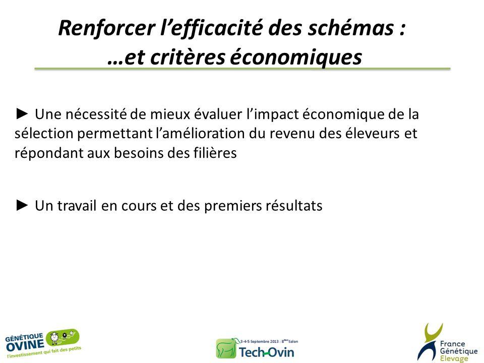 Renforcer lefficacité des schémas : …et critères économiques Une nécessité de mieux évaluer limpact économique de la sélection permettant lamélioratio