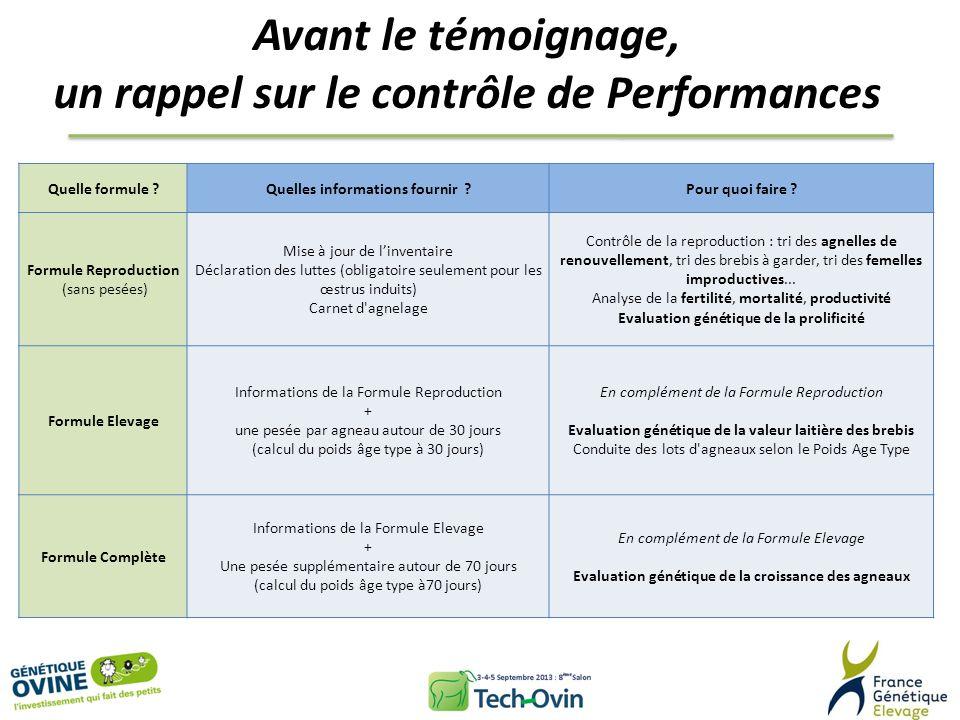 Avant le témoignage, un rappel sur le contrôle de Performances Quelle formule ?Quelles informations fournir ?Pour quoi faire ? Formule Reproduction (s