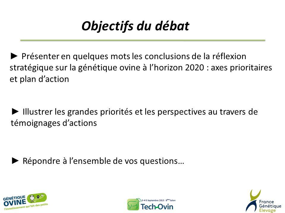 Objectifs du débat Présenter en quelques mots les conclusions de la réflexion stratégique sur la génétique ovine à lhorizon 2020 : axes prioritaires e