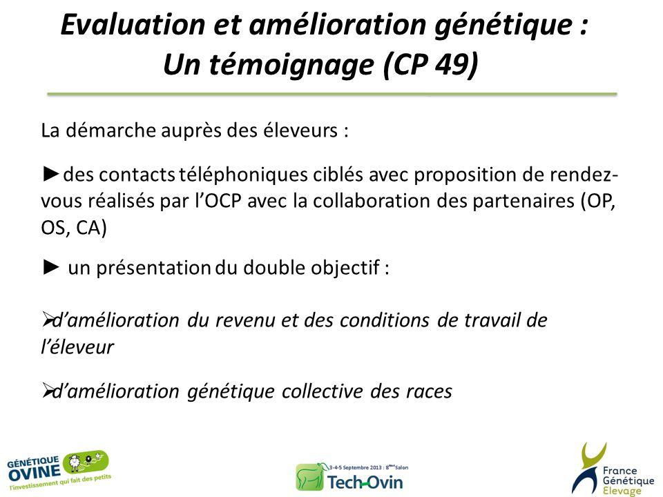 Evaluation et amélioration génétique : Un témoignage (CP 49) La démarche auprès des éleveurs : des contacts téléphoniques ciblés avec proposition de r