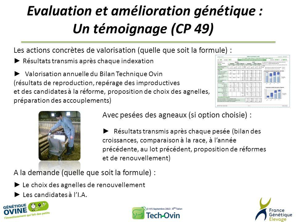 Evaluation et amélioration génétique : Un témoignage (CP 49) Les actions concrètes de valorisation (quelle que soit la formule) : Résultats transmis a