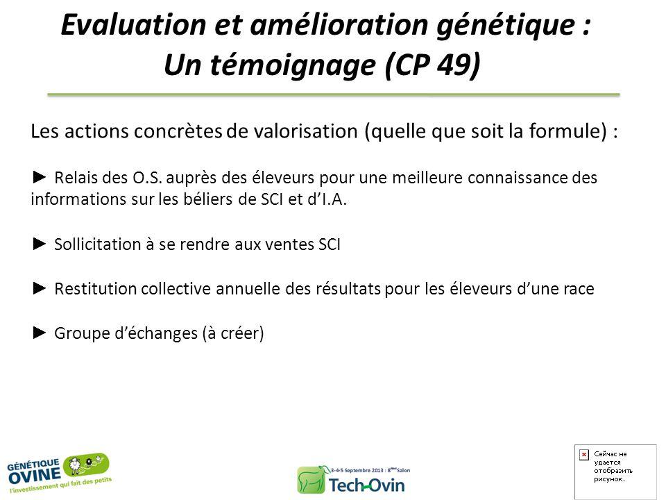 Evaluation et amélioration génétique : Un témoignage (CP 49) Les actions concrètes de valorisation (quelle que soit la formule) : Relais des O.S. aupr