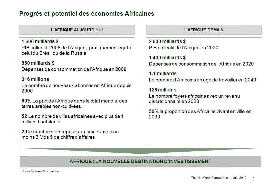 The New York Forum Africa – Juin 2012 4 1 600 milliards $ PIB collectif 2008 de lAfrique, pratiquement égal à celui du Brésil ou de la Russie 860 mill
