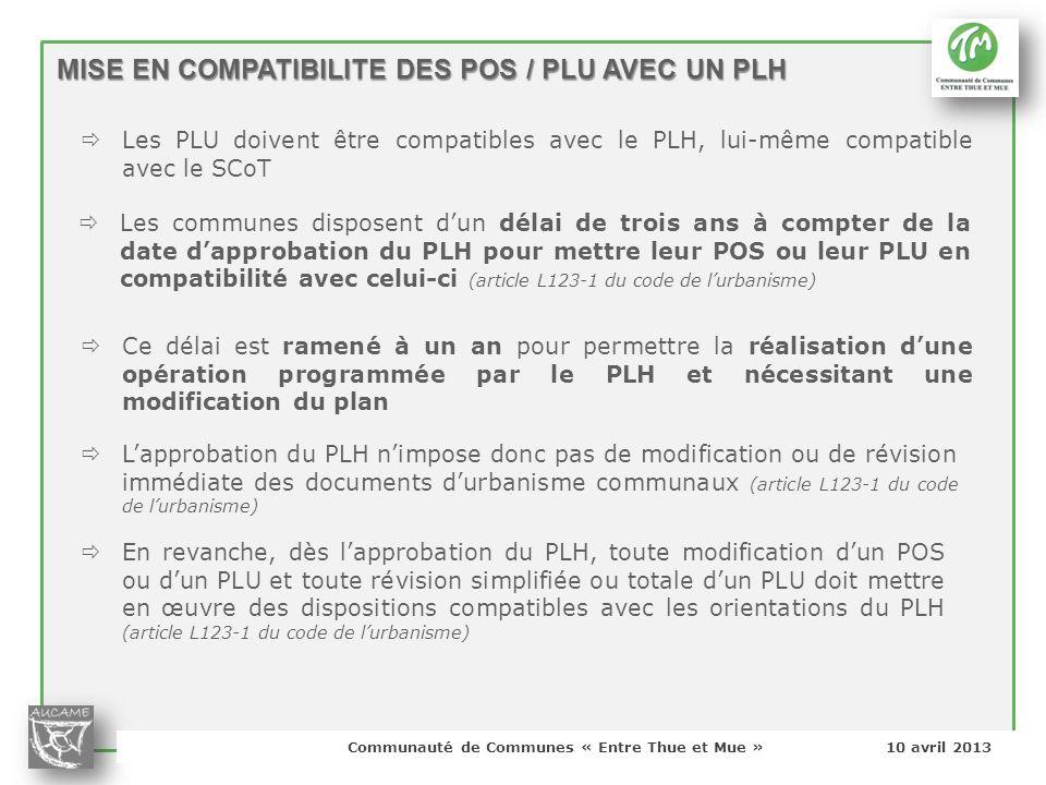 Communauté de Communes « Entre Thue et Mue » 10 avril 2013 Lapprobation du PLH nimpose donc pas de modification ou de révision immédiate des documents