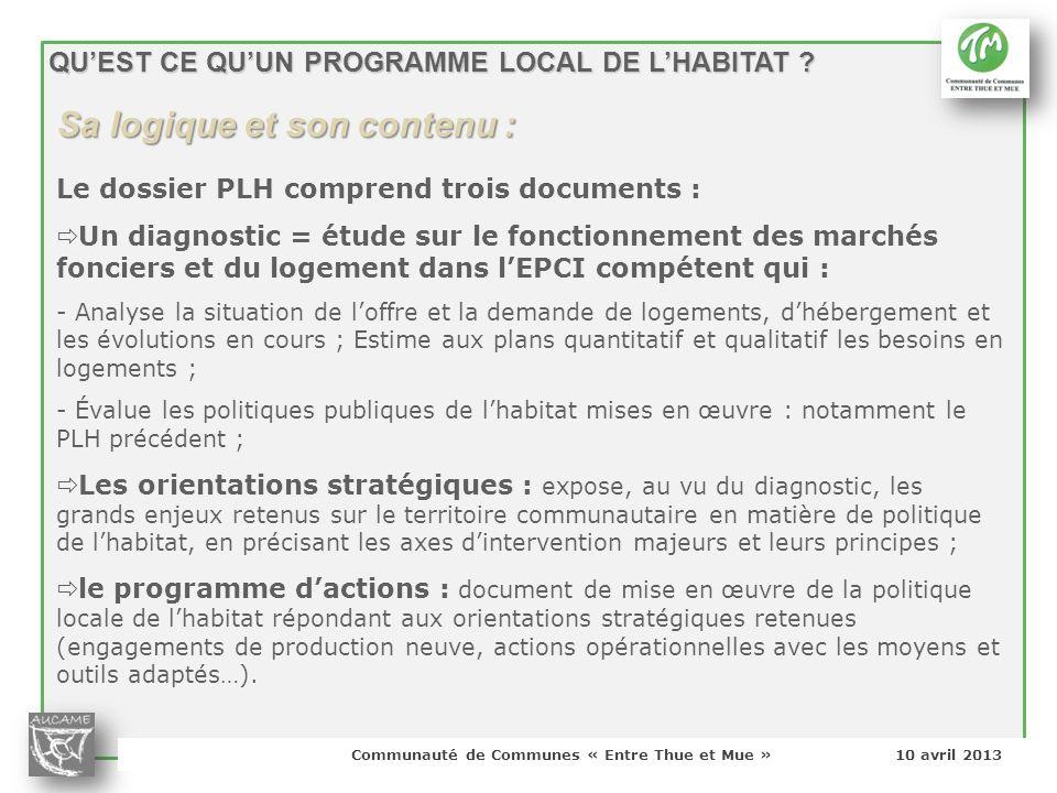 Communauté de Communes « Entre Thue et Mue » 10 avril 2013 Sa logique et son contenu : QUEST CE QUUN PROGRAMME LOCAL DE LHABITAT ? Le dossier PLH comp