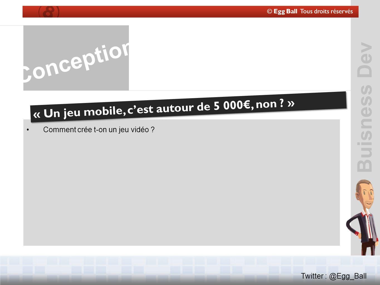 © Egg Ball Tous droits réservés Twitter : @Egg_Ball Conception « Un jeu mobile, cest autour de 5 000, non .