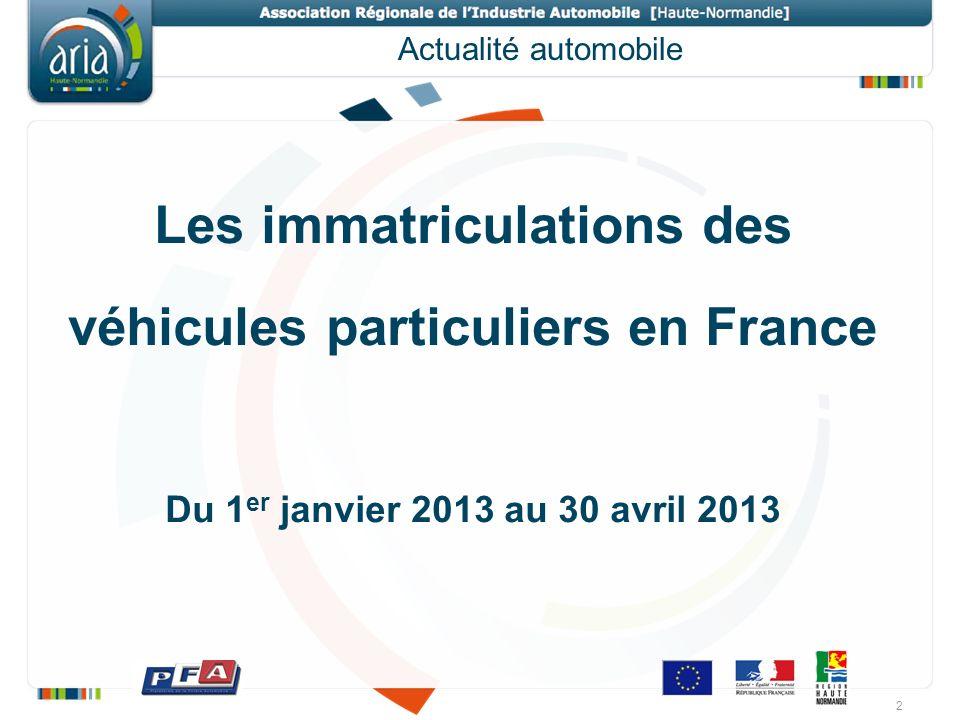 Actualité automobile Les immatriculations des véhicules particuliers en France Du 1 er janvier 2013 au 30 avril 2013 2