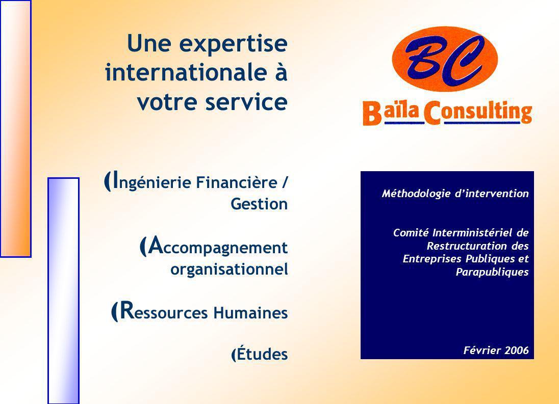 Une expertise internationale à votre service ( I ngénierie Financière / Gestion ( A ccompagnement organisationnel ( R essources Humaines ( Études Méth
