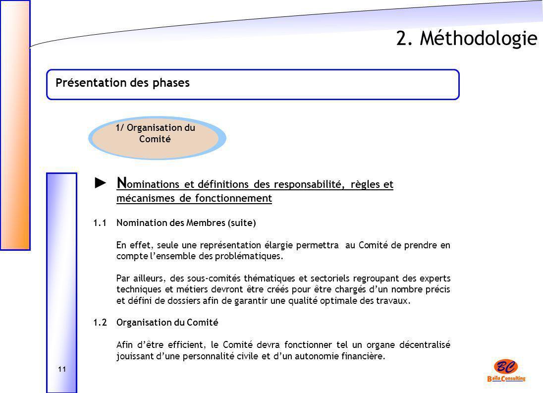2. Méthodologie Présentation des phases 11 1/ Organisation du Comité N ominations et définitions des responsabilité, règles et mécanismes de fonctionn